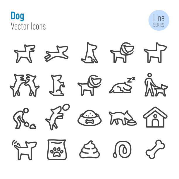 dog icons - vector line series - dog treats stock illustrations