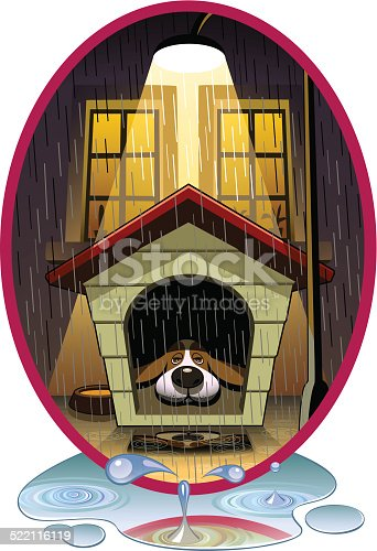 A dog lie in an illuminated doghouse in front of a residential building at a rainy night.