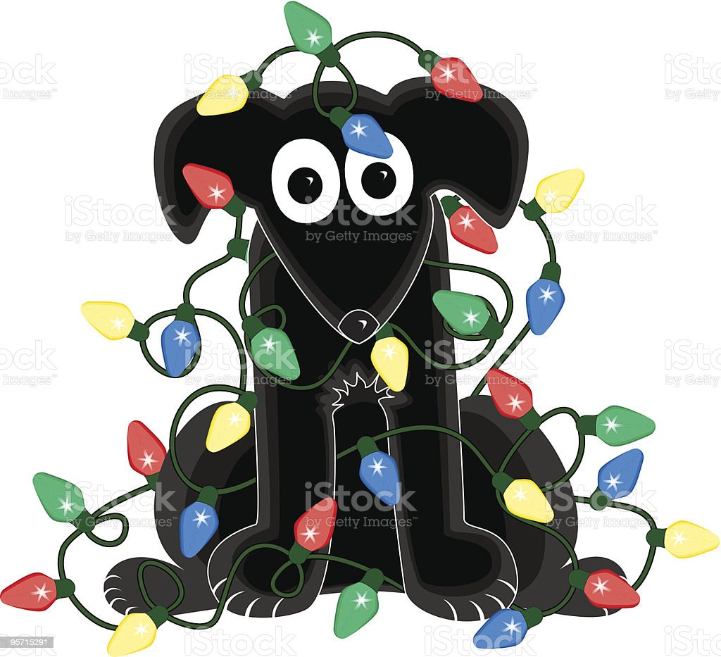 Dog in Christmas Light Tangle vector art illustration