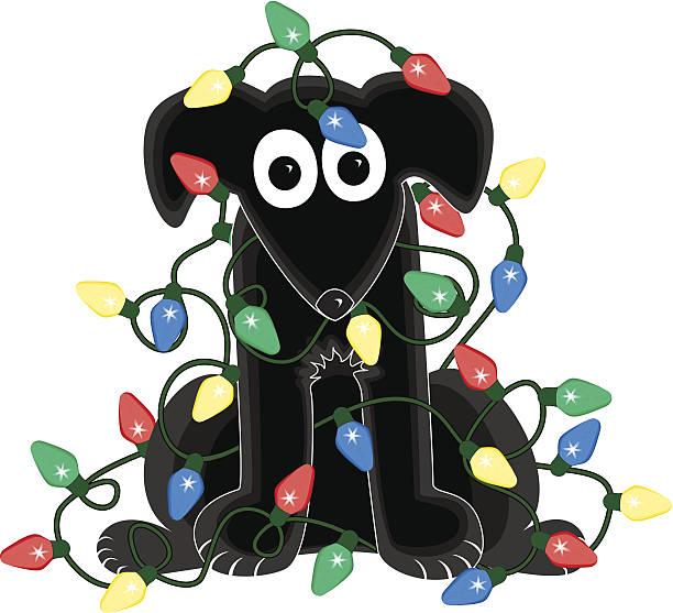 Dog in Christmas Light Tangle vector art illustration