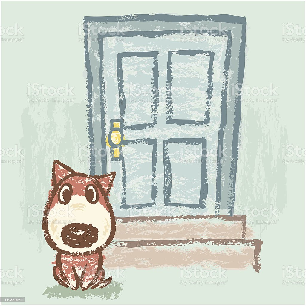 Dog in front of door royalty-free dog in front of door stock vector art & more images of animal themes