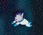 Dog in Outer Space Illustration