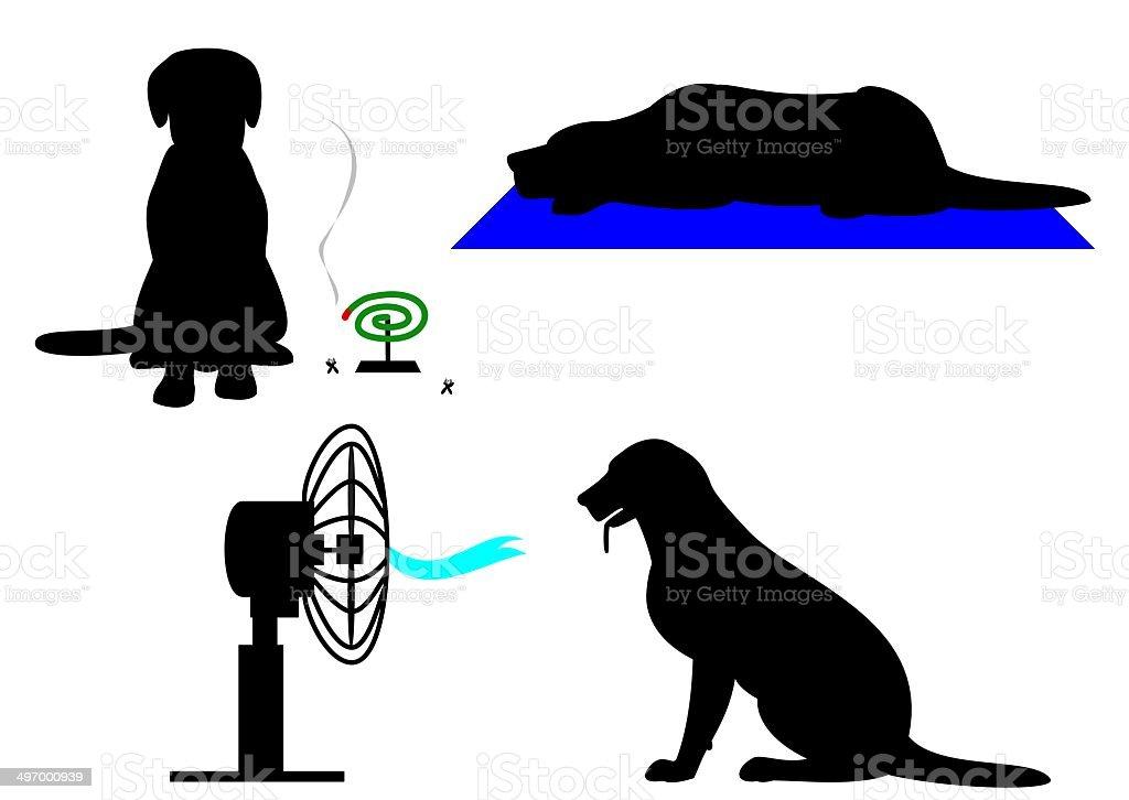 dog in summer vector art illustration
