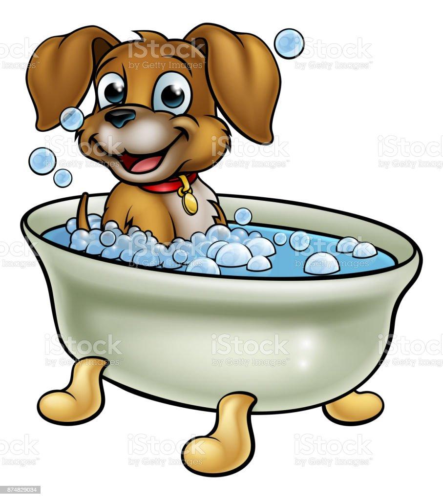 Hund In Der Badewannekarikatur Stock Vektor Art Und Mehr Bilder Von