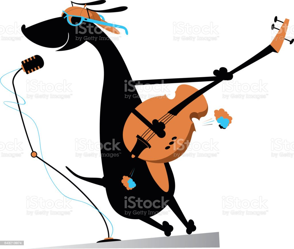 Dog is playing guitar and singing vector art illustration