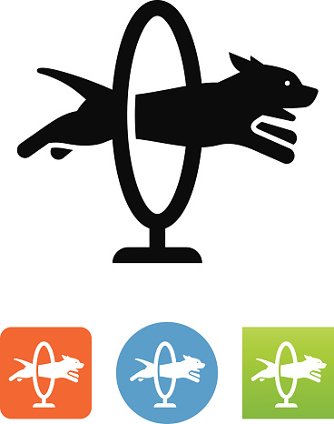 Dog Jumping Through A Hoop Icon