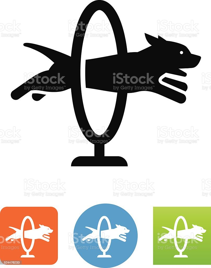 Dog Jumping Through A Hoop Icon vector art illustration