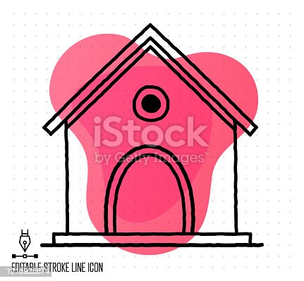 Hand drawn doodle icon for dog kennel to use as vector design element. Minimalistic symbol made in the style of editable line illustration.