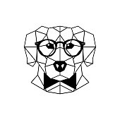 Dog Labrador in glasses and a bow tie. Geometric style. Vector illustration.