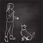 Young woman training her dog