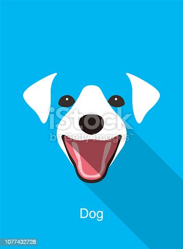dog laughing face flat icon design, vector illustration