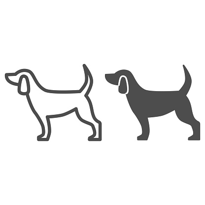 Dog line and solid icon, pets concept, puppy sign on white background, dog standing silhouette icon in outline style for mobile concept and web design. Vector graphics