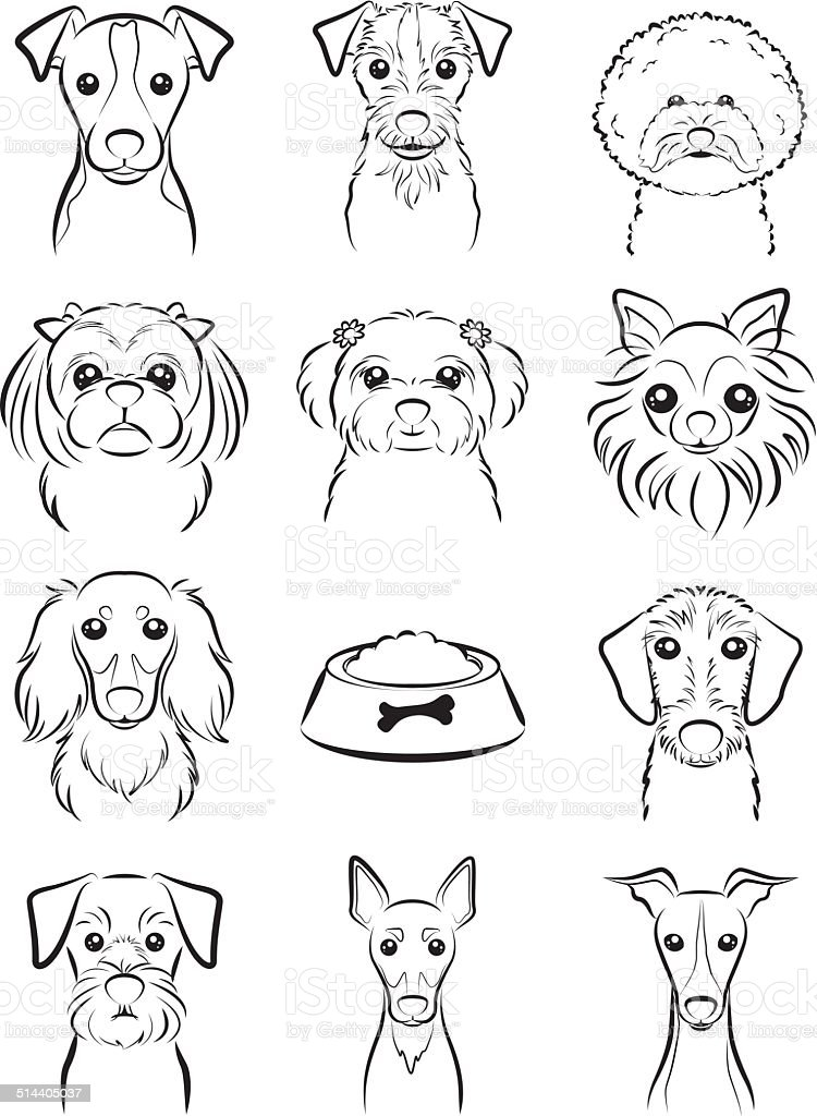 Line Drawing Animal Face : Dog line drawing stock vector art more images of animal
