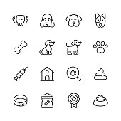 16 Dog Outline Icons.