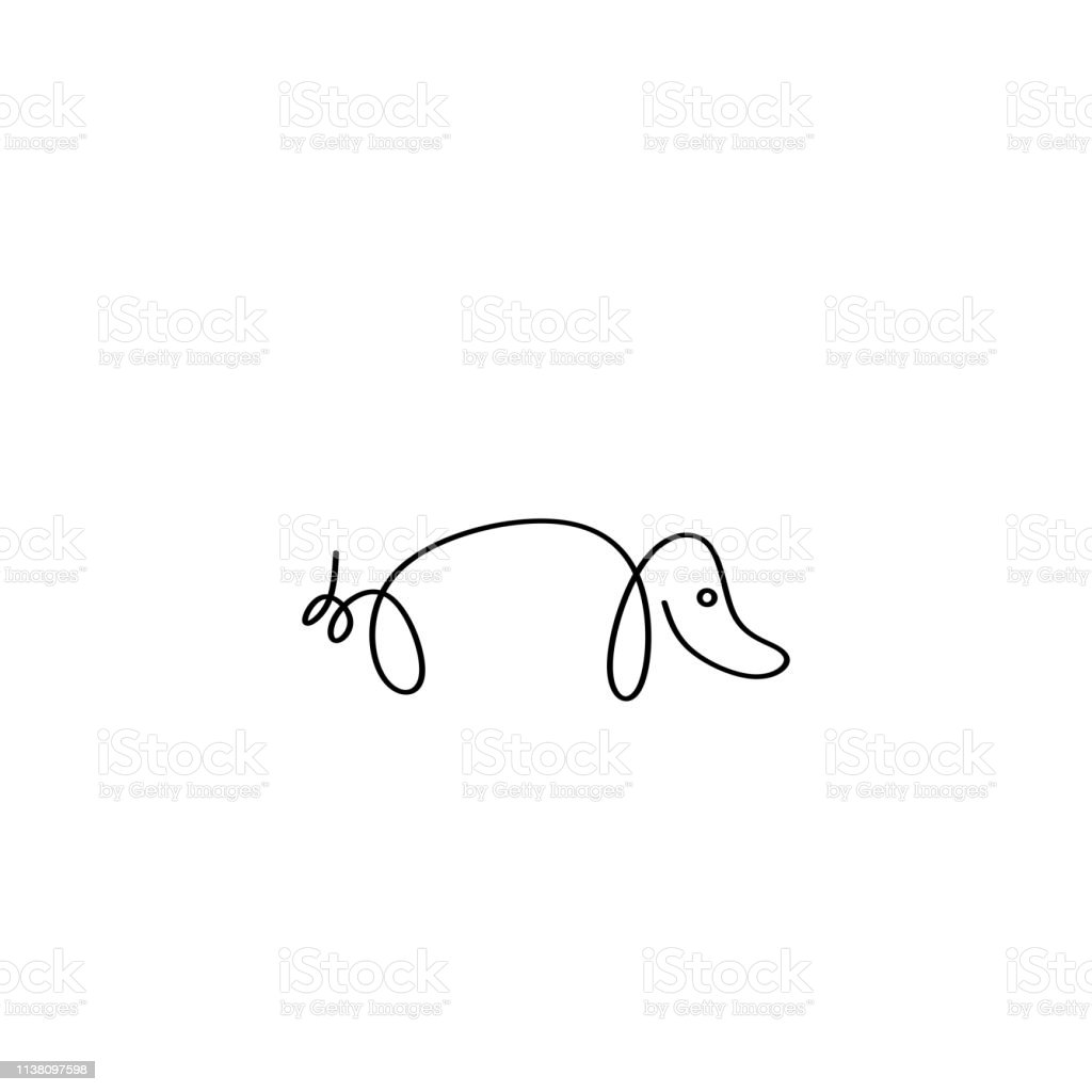 Dog logo vector with continuous one line art style. Minimalist icon...