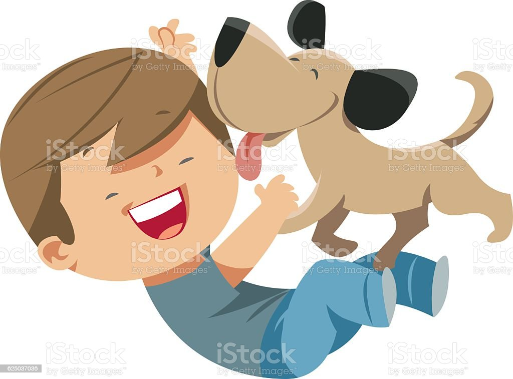 Dog loves the Boy vector art illustration
