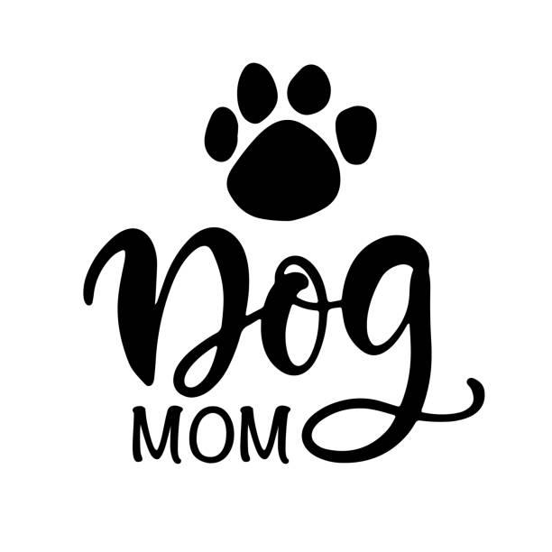 Dog Mom T Shirt Design, Funny Hand Lettering Quote Dog Mom T Shirt Design, Funny Hand Lettering Quote, Pet Moms life, Modern brush calligraphy, Isolated on white background. Inspiration graphic design typography element. short phrase stock illustrations