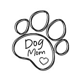 Dog mom text design from dog footprints and hearts For the shirt pattern as a gift to mom