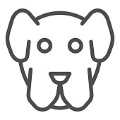 Dog muzzle line icon. Minimal domestic animal face symbol, puppy head shape. Animals vector design concept, outline style pictogram on white background, use for web and app. Eps 10
