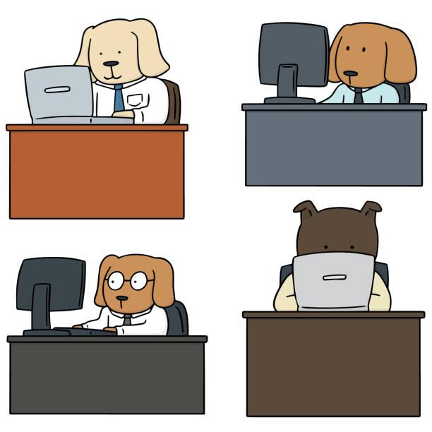 hund-büroangestellte - arbeitshunde stock-grafiken, -clipart, -cartoons und -symbole