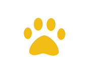 dog or cat paw. Symbol of pet. Animal footprint. Puppy icon. Cartoon style