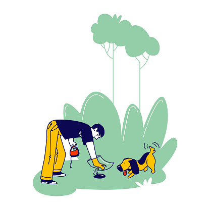 Dog Owner Character Remove Dog Shit from Ground in Park or House Yard Using Plastic Bag on Hand. Man Care Environment, Follow Cleaning Rules while Walking Domestic Animal. Linear Vector Illustration