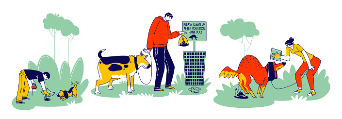 Dog Owners Clean Up Feces After Pets on Street. Men or Women Characters Using Polyethylene Package to Pick Up Excrements and Throw to Litter Bin, Responsibility. Linear People Vector Illustration
