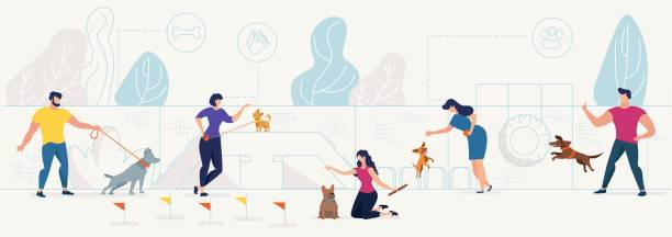 Dog owners playing with pets on playground vector Dog Playground in City Park Flat Vector Concept with Male, Female Pets Owners Playing with Domestic Animals, Training, Teaching Dogs Tricks on Equipment for Animals Activities Playground Illustration stunt stock illustrations