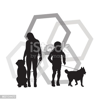Silhouette vector illustration of people and their pets over a geometrical background of hexagone