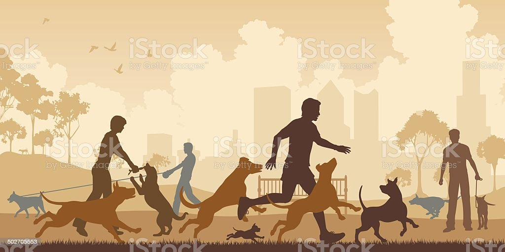 Dog park Editable vector illustration of dogs and their owners in a park with all elements as separate objects Active Lifestyle stock vector