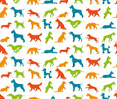 Dog seamless pattern with flat pet breeds silhouettes vector illustration
