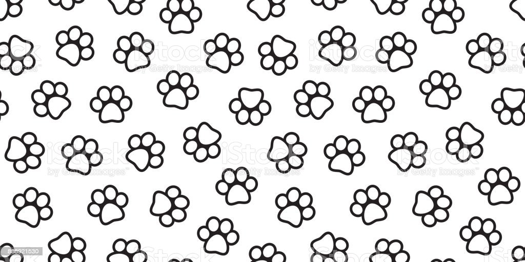 Dog Paw Cat Paw Foot Print Kitten Puppy Seamless Pattern Vector ...