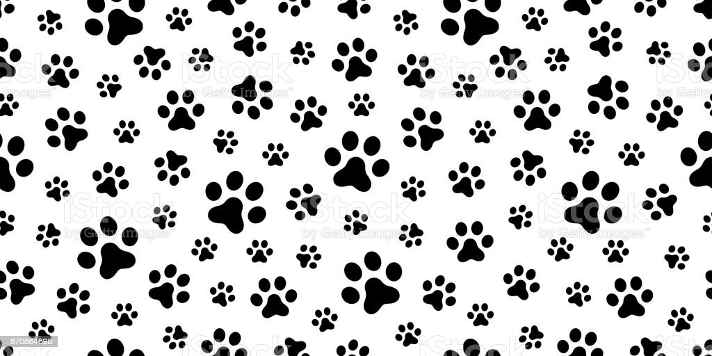 Dog Paw Cat Puppy Foot Print Kitten Vector Seamless Pattern Wallpaper Background Royalty Free