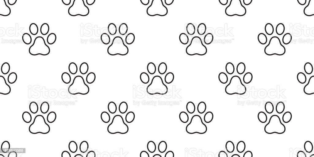 Dog Paw Cat Paw Puppy Kitten Foot Print Vector Seamless Pattern ...