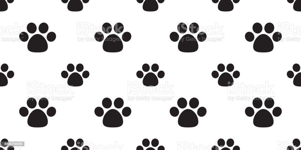 Dog Paw Foot Print Cat Puppy Kitten Cartoon Doodle Seamless Pattern Wallpaper Background Royalty