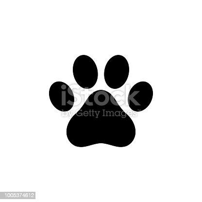 istock Dog paw icon logo 1005374612