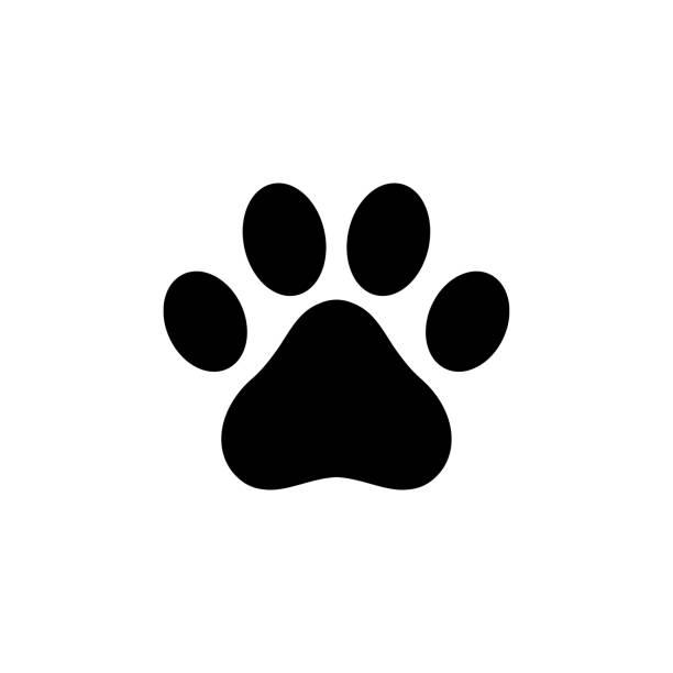 ilustraciones, imágenes clip art, dibujos animados e iconos de stock de logotipo de icono del pata de perro - mascota