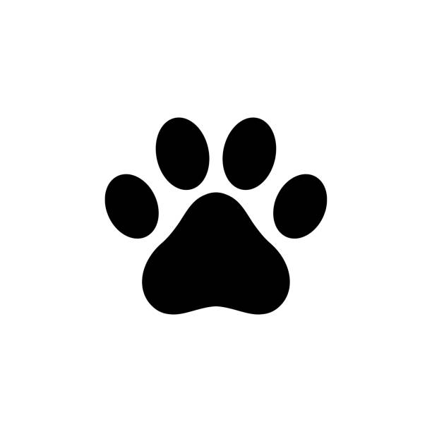dog paw icon logo - cat stock illustrations, clip art, cartoons, & icons