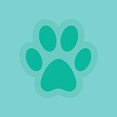 Vector of Dog Paw Icon Turquoise Background