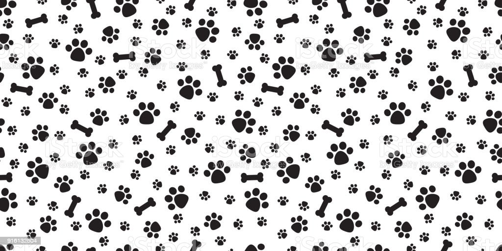 Dog paw isolated dog bone seamless pattern vector puppy - Dog print wallpaper ...