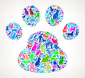 Dog Paw  Pets and Animals Vector Icon Background. This vector illustration features the main composition composed of pets and pet care icons on gradient background. The vector icons vary in size and color and are the main focus of this illustration. A seamless pattern is formed by the vector animal and pets icons. This image is ideal for pet concepts and includes such popular pet illustration as a dog, a cat, a bird, gold fish, lizard and many more. Each icon is detailed and can be used independently.