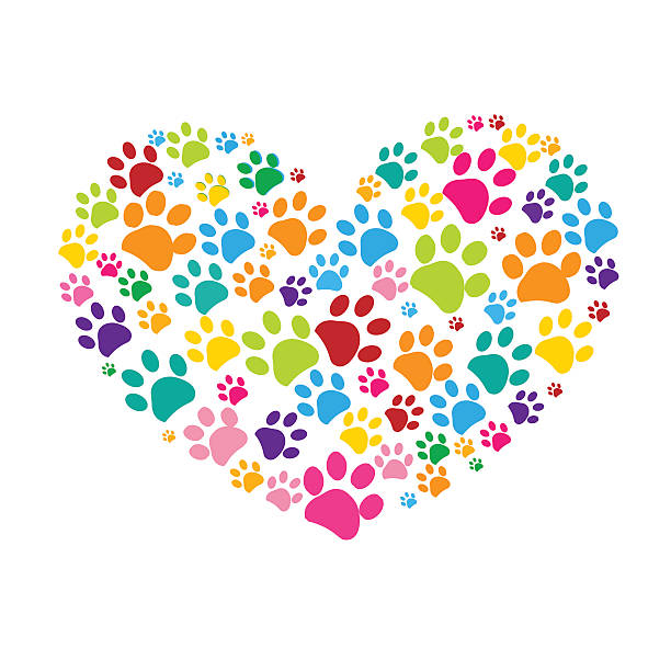 Dog paw print made of colorful heart illustration ベクターアートイラスト