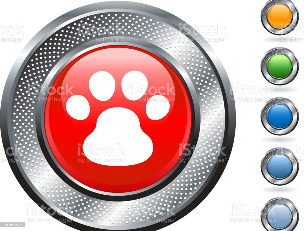 dog paw print on metallic button royalty-free stock vector art