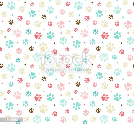 istock Dog paw print seamless. Template for your design, wrapping paper, card, poster, banner, flyer. Vector illustration. Isolated on white background stock illustration 1189999011