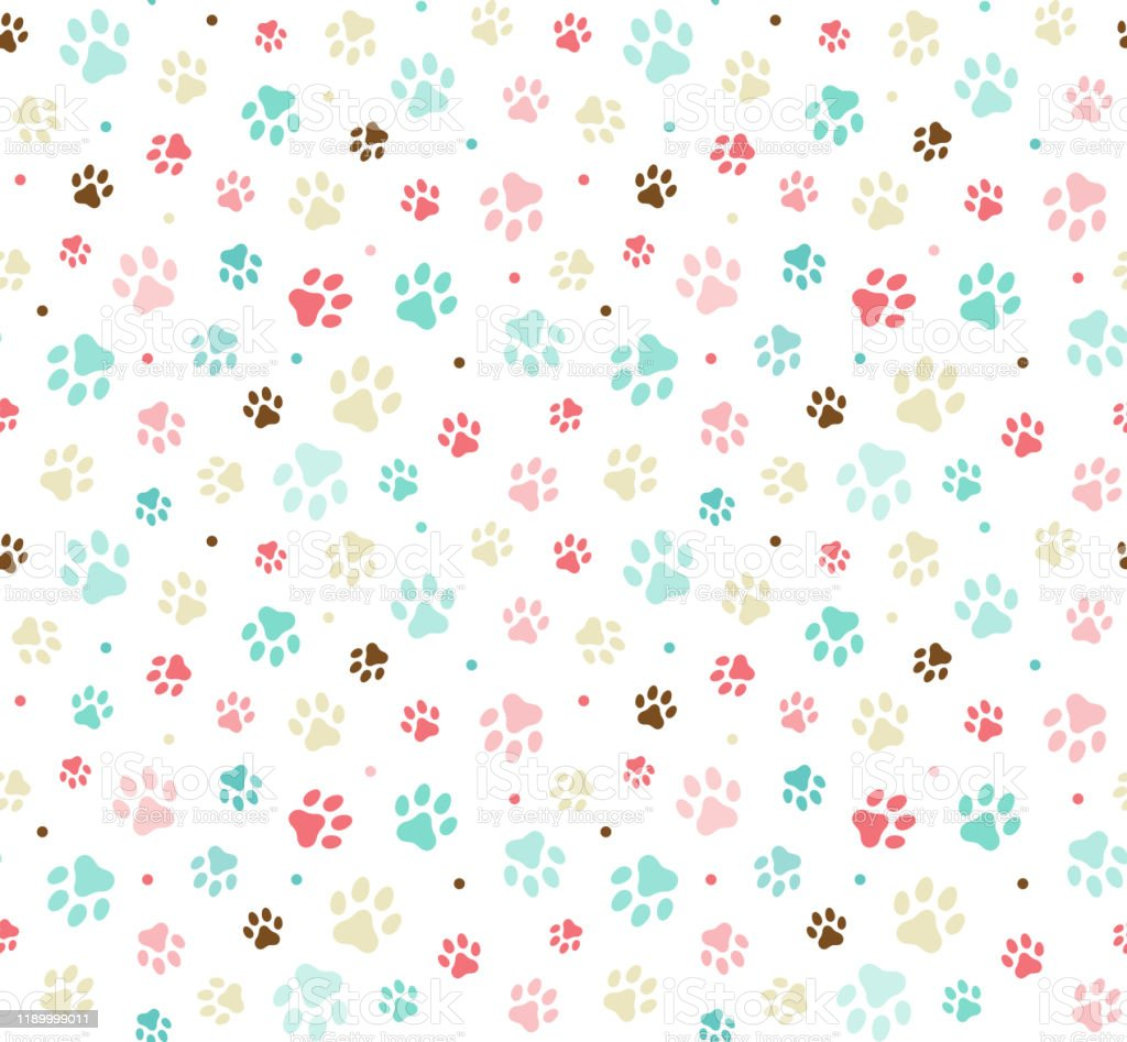 Gold and Rose Gold Seamless Pawprints and Pets Patterns