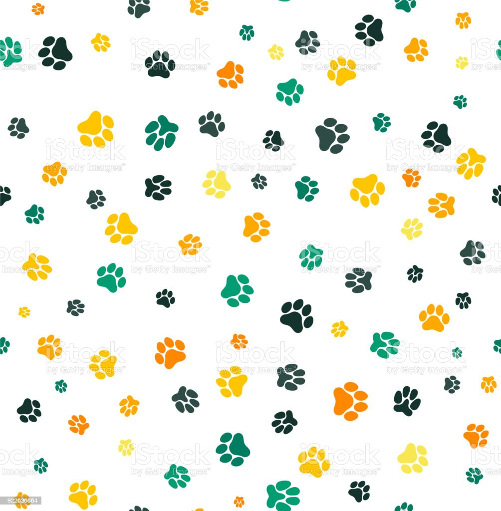 Dog Paw Print Seamless Template For Your Design Wrapping Paper Card ...