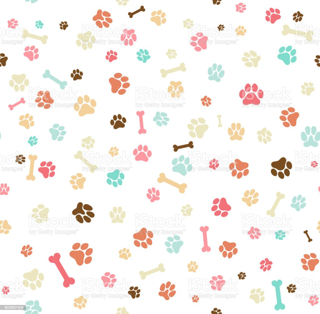 Dog paw print seamless. Template for your design, wrapping paper, card, poster, banner, flyer. Vector illustration. Isolated on white background vector art illustration