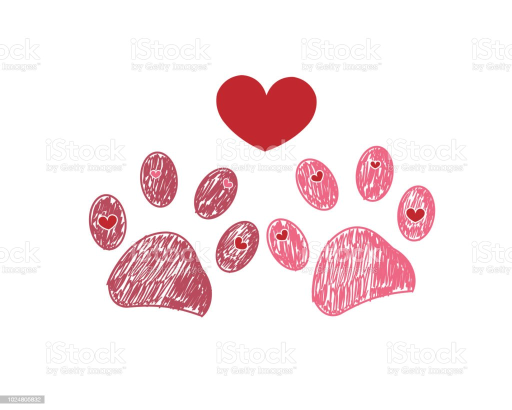 Dog Paw Print With Hearts Happy Valentines Day Greeting Card And