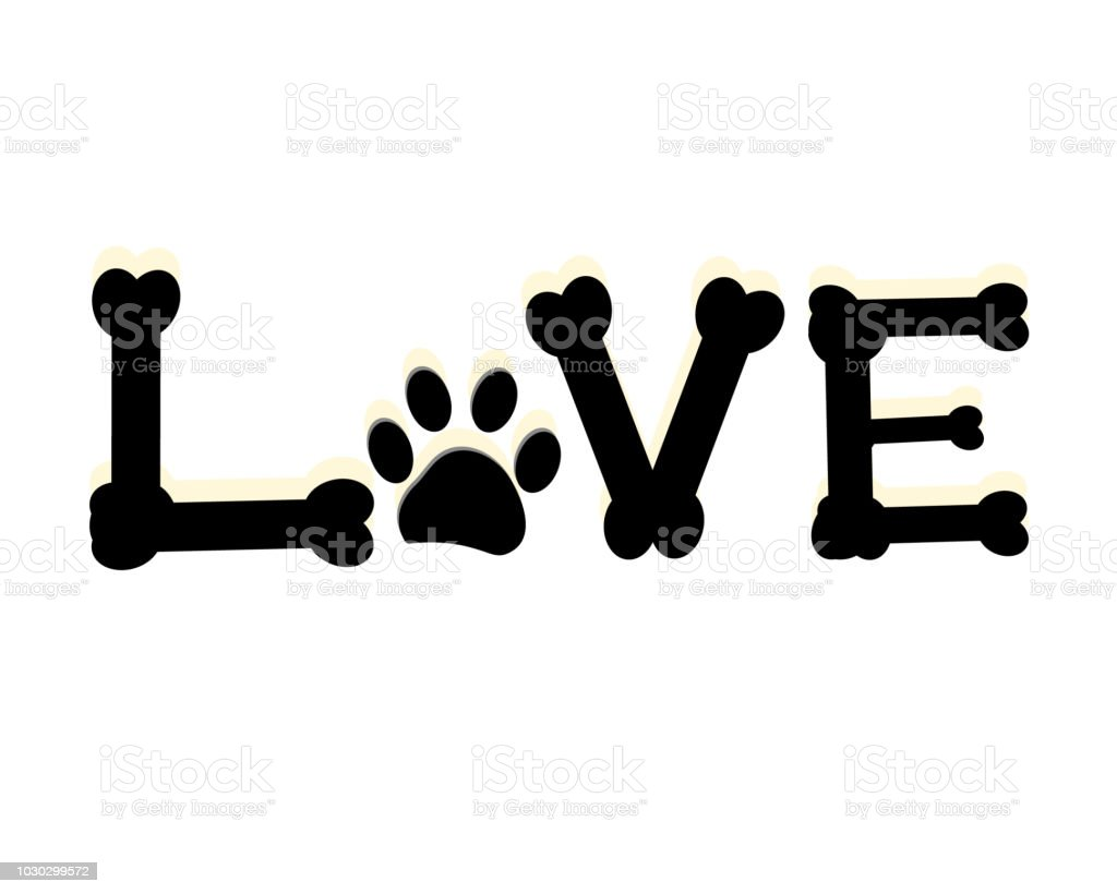 Dog Paw Print With Love Word Pet Room Decor Modern Wall Decor Stock