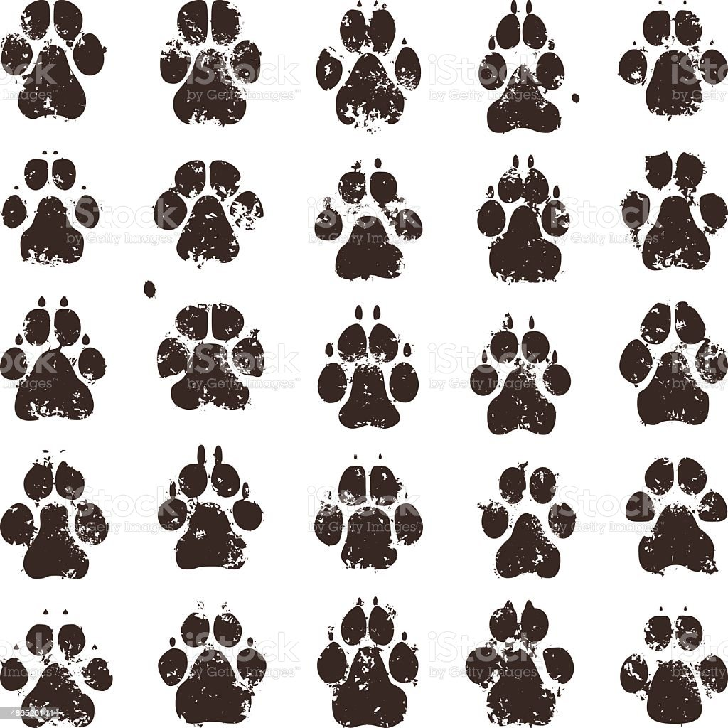 Dog Paw Prints Stock Vector Art More Images Of 2015 486526144 Istock